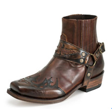 US 11.5 Men Square Toe Cowboy Biker Ankle Boots Retro Riding Pull On Shoes Zha19