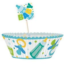 Baby Shower Cupcake Kit Blue 48PK M13925 Party Supply Boy Cases Holders Toppers