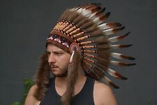 Brown Feather Native American Headdress, Indian Warbonnet, Costume, Headband Hat