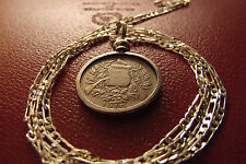 """1900-1912 Guatemala 1 Reale Antique Coin Pendant 30"""" 925 Sterling Silver Chain"""