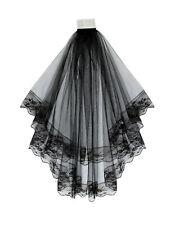 "2 Tier Black Bridal Wedding Veil With Lace Edges Comb 31"""