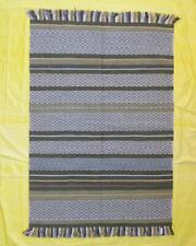 Striped Green 5'x7' Wool Kilim Mat Afghan Hand woven Carpet Rugs Living Room