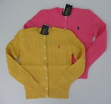 NWT Ralph Lauren Girls Mini Cable Cotton Cardigan Yellow Pink Sz 5 6 6x NEW $40