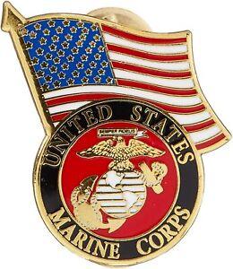 United States Marine Corps Logo USA Flag Lapel / Hat Pin USMC