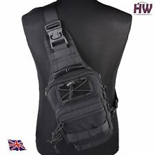 AIRSOFT 1000D UTILITY MOLLE TACTICAL 3 WAY SHOULDER BAG POUCH BACKPACK BLACK UK