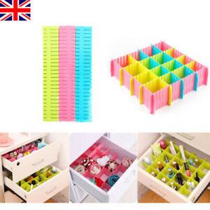 6/12/18/24Pcs Adjustable Drawer Clapboard Divider Cabinet Storage White Plastic