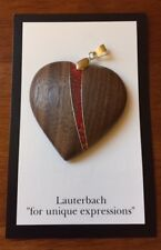 """Carved Walnut Pink Coral Wood Heart Pendant By Craig Lauterbach 1.5"""" inch"""