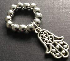 Bijoux 5mm silver ball stretch ring with tibetan hamsa hand charm boho
