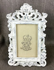 Photo Frame Picture Photograph Ornate Shabby Chic Carved Style Distressed White