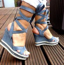 Coole Bänder High Heels Strass Denim blau Wedges Espandrillo Look Gr. 36 NEU