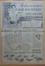 full page 1953 newspaper ad for Minneapolis Moline farm machinery -makes kitchen