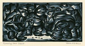 JOHN DEPOL, 'FLOATING CRAP GAME', chiaroscuro wood engraving, signed, 1958.