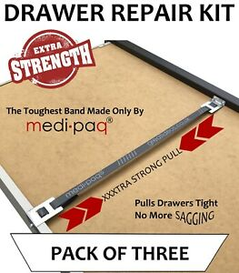 DRAWER REPAIR KIT x 3 Fix Mend Broken Sagging Drawers EXTRA STRONG Band UK