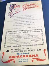 Vintage New York COPACABANA Restaurant COPA SNACKS menu Autographed..by whom???