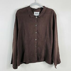 Flax Size Large Brown 100% Linen Button Blouse Top Collared Lightweight