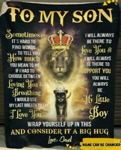 To My Son i Love You From Dad Lion King Gift Blanket
