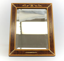 Vtg Italian Marquetry Framed Tabletop Mirror Gilt Sterling Silver embellishments