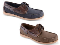 Mens Yachtsman Leather Deck Boat Shoes 2 Colours 7-14
