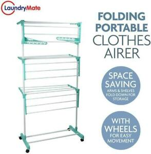 XL 3 Tier Indoor Clothes Airer Foldable Portable Dryer Rack with Wheels