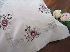 Lovely Pink Rose Embroidery Jacquard Zipper Ivory Cushion Cover CL
