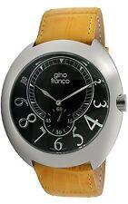 Men's Analog Quartz Round Stainless Steel Case with Genuine Leather Strap Watch