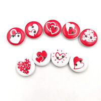 KE_ AG_ 100x Round Love Heart Red Wooden Buttons Scrapbooking Cards Craft DIY