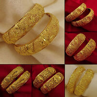 18K Goldplated Ethnic 2Pc Kada Bangle Set Party Jewelry SZ 2*4,2*6 BSG115-PAR