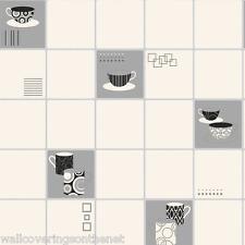 Noir, blanc & argent, de carrelage sur rouleau papier peint style, cuisine * £ 12.99 inc P&P *