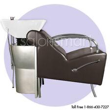Brown Shampoo Unit Backwash Sidewash Bowl Chair Salon Equipment Furniture Wash