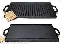 OLD MOUNTAIN CAST IRON PRESEASONED TWO-BURNER REVERSIBLE GRILL / GRIDDLE - NEW