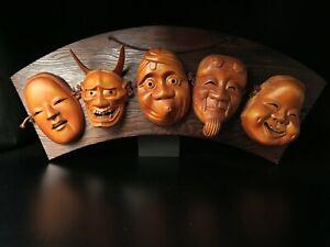 Free shipping Noh Wall hanging 5 masks  Bugaku Gigaku Kyougen Japanese
