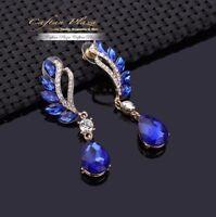 Brautschmuck Hochzeit Ohrringe Ohrhänger XL Gold Royal Blau Kristall Klar Luxury