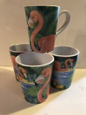 Sakura Evolution Flamingos Melamine Mugs Cups Set 4