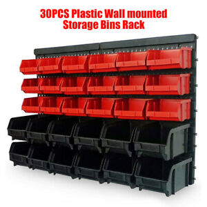 Set of 30 Plastic Bins Wall Mounted Storage Boxes Garage Workshop Part Organizer