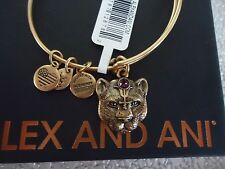 Alex and Ani WILD HEART II Russian Gold Charm Bangle New W /Tag Card & Box