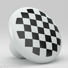 Black Checkered Checker Ceramic Knobs Pulls Kitchen Drawer Cabinet Vanity 420