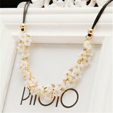Fashion Women Crystal Daisy Flower Choker Chunky Charm Leather Rope Necklace
