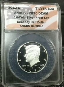 2012-S PROOF SILVER KENNEDY HALF DOLLAR 50C ANACS PR70 DEEP CAMEO SILVER