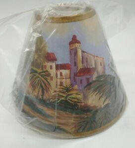 """Palms in Eastern City  Clip On Lampshade 4"""" tall x 5"""" base"""
