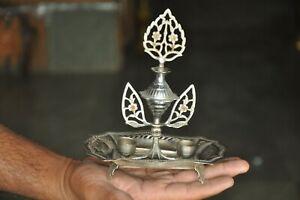 Old Brass Handcrafted Cut Work Unique Shape Black Eye Powder Bottle