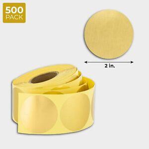 "500-Pack 2"" Metallic Gold Round Dot Sticker Labels for Envelopes, Wedding Invite"