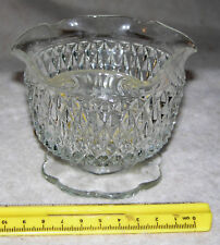 """Vintage 3-1/4"""" High Clear Pressed Glass Candy Dish with Diamond Design"""