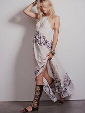 Free People Intimately Print Floral White Boho Festival Maxi Slip Dress M Rare