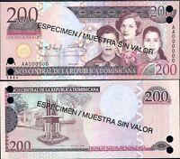 DOMINICAN REPUBLIC 200 PESOS 2007 P 178 S SPECIMEN UNC
