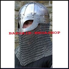 Historial Medieval Viking Helmet Battle Armor 18G Steel and Chainmail