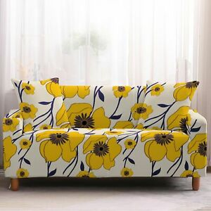 Abstract Yellow Floral Pattern Sofa Couch Cover Slipcover