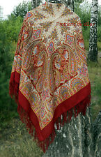 Shawl Paisley Authentic 100% Natural Wool Fringes Russian Floral Original Ethnic
