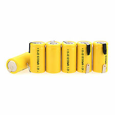 6 Pcs Sub C SC 1.2V 1300mAh Ni-Cd NiCd Rechargeable Battery Yellow For Home Use