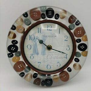 """Button Lucite Acrylic Wall Clock Sewing Room Clothiers Firstime Manufactory 8"""""""