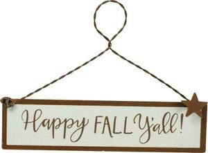 Happy Fall Y'all Tin Small Hanging Sign Ornament Primitives By Kathy Harvest